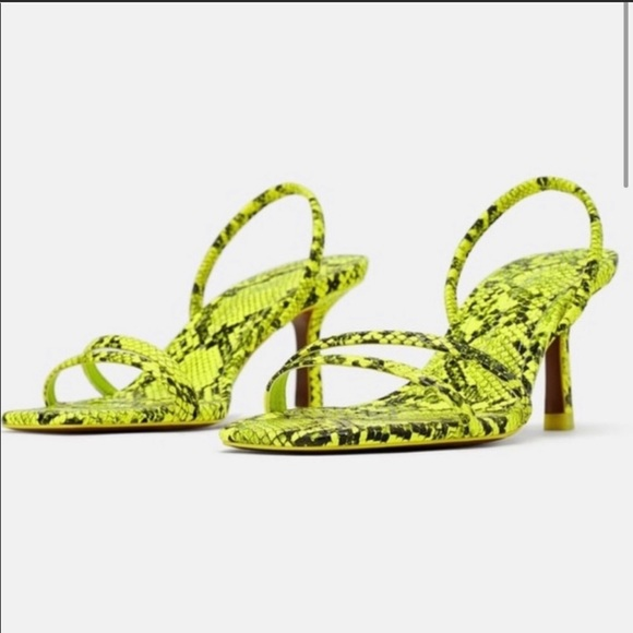 Zara Green Snake Skin Low Heeled Strappy Square Neon Green Sandals